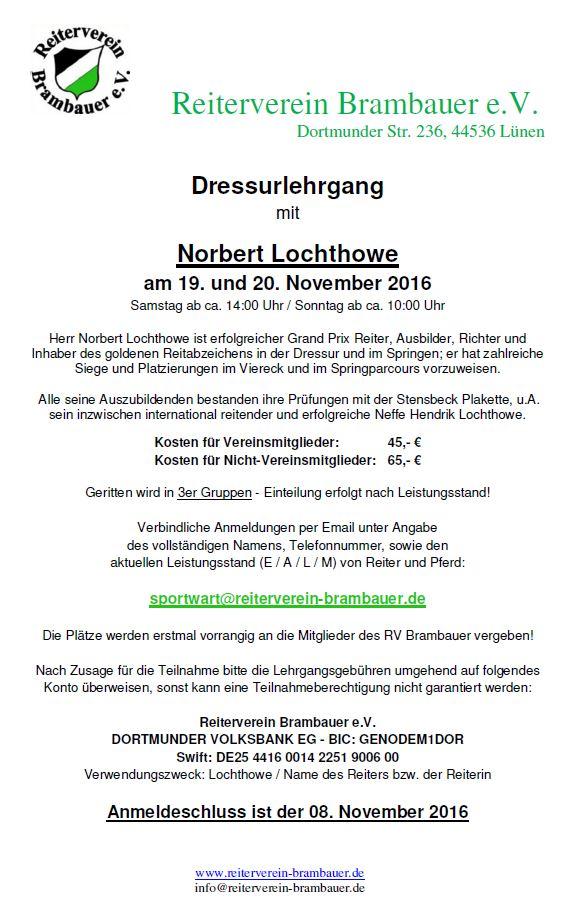 Dressurlehrgang mit Norbert Lochthowe