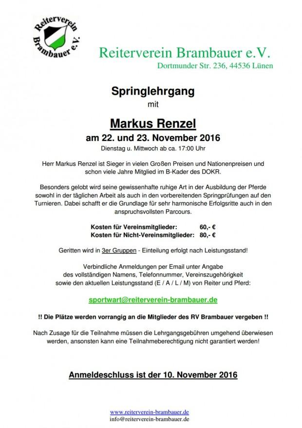Springlehrgang mit Markus Renzel